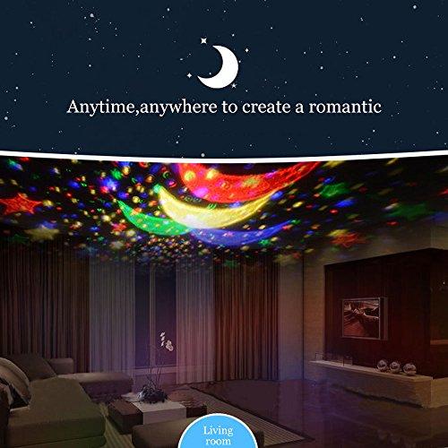Lampada di Illuminazione Notturna, Rotante Stella Luna Cielo Proiettore per Bambini Camera da Letto (4 Perle Luminose LED,3 Luci di Modalità,Powered by DC5V/AAA Batteria e Cavo USB) (Rosa) - 1
