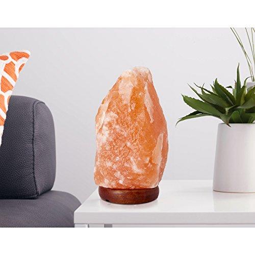 Lampada di Sale Himalayano (5-7 kg) con Varialuce, Completamente Naturale e Realizzata a Mano con Base in Legno - 1