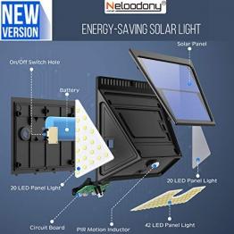 Lampada solare a 82 LED per esterni, versione aggiornata, Neloodony Luce Solare Led Esterno con grandangolo per porte anteriori, cortile posteriore, portico, garage.2000LM Lampade Solar - 2 packsi - 1