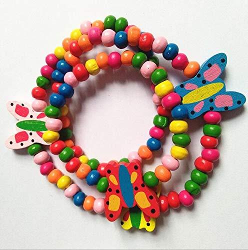 Larcenciel Gioielli per bambini Arcobaleno Bracciale Bracciale Piccola principessa Stretch Perle di legno Set di gioielli per bambini Gioca Fing Up Dress Up (Butterfly) - 1