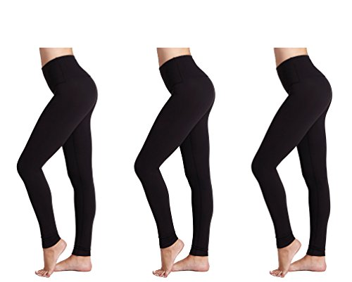 Leggings da Donna (Pacco da 3) FM® Leggings Neri Termici da Donna, Sportivi o Casual - 1
