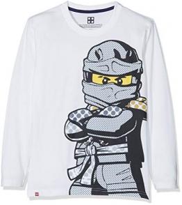 Lego Wear Lego Boy Ninjago CM-73083, Maglietta a Maniche Lunghe Bambino, Weiß (off White 102), 122 - 1