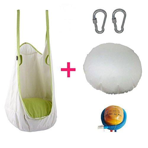 Leiyini - Amaca per bambini, sedile pensile, altalena con cuscino, per esterni e interni, bianco - 1
