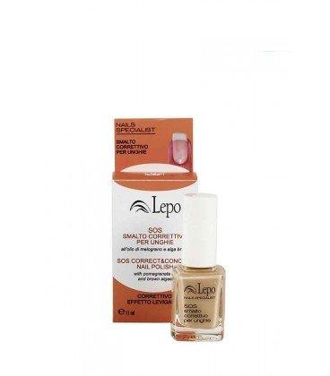 LEPO - SOS smalto correttivo per unghie - Indurente - Protettivo - Ripara e maschera le imperfezioni del letto ungueale - Con alga bruna e melograno - 11 ml - 1