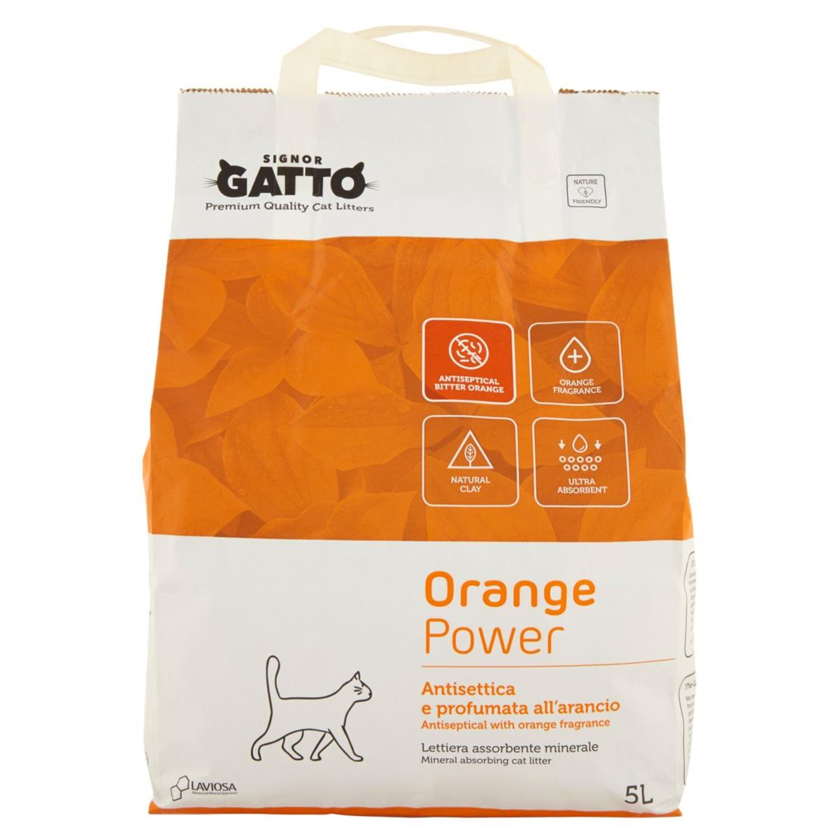 Lettiera per gatti Assorbente Minerale Orange Power 5 L