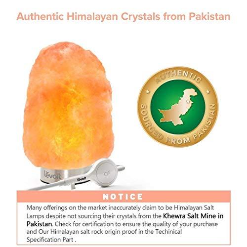 Levoit Kyra Lampada di Sale dell'Himalaya 2-3 kg, Lampada di Sale Salgemma con Pulsate Touch, Pacco Regalo, Lampada in Cristallo di Base Inox con 2 Lampadine di Ricambio - 1