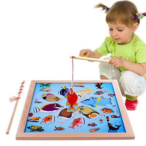 Lewo Magnetica puzzle Gioco in legno La Pesca con 11 pesci e 2 Polo Magnetico - 1
