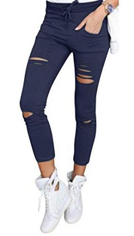 Live It Style It Pantaloni jeggings skinny da donna elasticizzati, strappati - 1