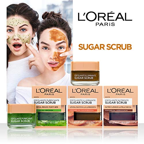 L'Oréal Paris Sugar Scrub Esfoliante Purificante Viso & Labbra con Cristalli Fini di Zucchero + Semi di Kiwi, 50 ml - 1