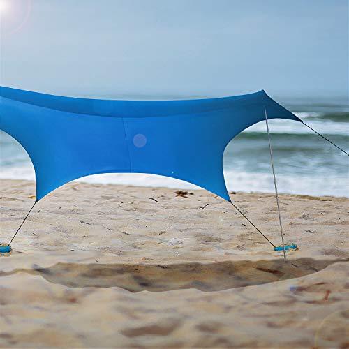 Lovebay Tenda da Spiaggia UV 50+ ombrellone Spiaggia tendalino da Sole con Sand Anchor - 2.1m x 2.1m - 1