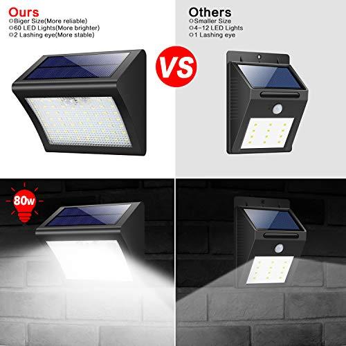 Luce Solare Esterna, Yacikos [2 Pezzi] 60 LED Lampada Solare con Sensore di Movimento Luci Solari Impermeabile 3 Modalità Lampada Solare WirelessdiSicurezza Illuminazione Esterno per Giardino - 1