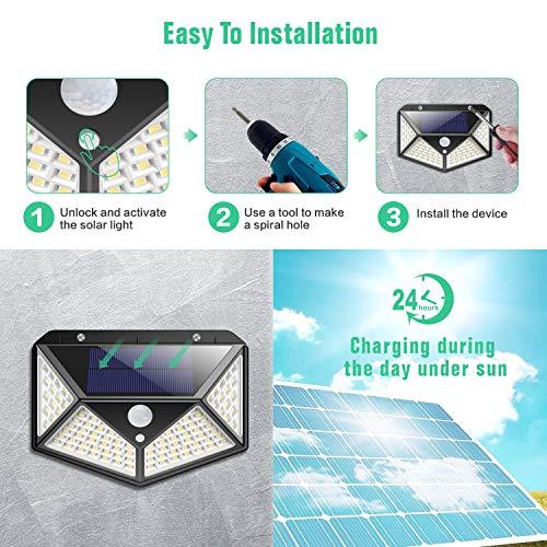 Luce Solare Esterno, Kilponen 100 LED Lampada Solare con Sensore di Movimento [270º Illuminazione 2 Pezzi] Luci Solari da Parete Impermeabile Solare LED con 3 Modalità per Giardino - 1