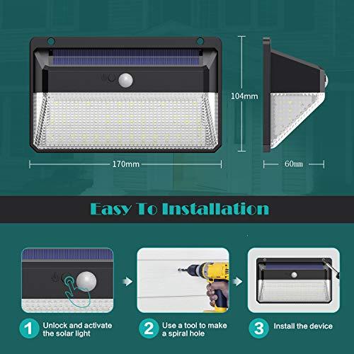 Luce Solare LED Esterno, Kilponen 108 LED Super Luminosa Lampada Solare con Sensore di Movimento [270º Illuminazione 2 Pezzi] Luci Solari da Parete Impermeabile Solare con 3 Modalità per Giardino - 1