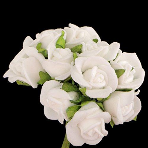 MagiDeal 100pz Mini Artificiali Rose Fiori Bouquet Sposa di Cerimonia Nuziale Decorazione Casa Bianca, 10 Centimetri - 1
