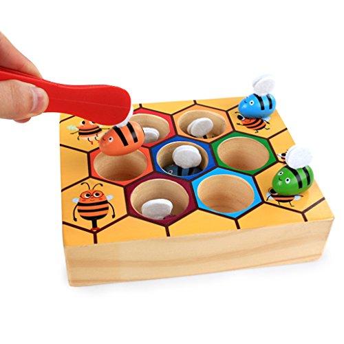 MagiDeal Set Di Scatola Clip Montessori Ape Giochi Bambini Educativi Legno Multicolore Regale - 1