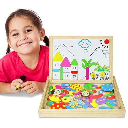 Magnetico Lavagna Puzzle di Legno Giochi Montessori Magnetica Lavagnetta a Double Face Magnetica Puzzle Apprendimento Educativo Magnetici Giochi Creativi Costruzioni Gioco Per Bambini - 1