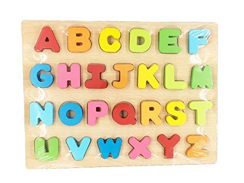 Mailesi Colorate Blocchi Alfabeto in Legno , Puzzle Alfabeto Lettere Giocattoli educativi per l'apprendimento precoce per i Bambini -Miglioramento dei Giochi di abilità per Bambini 2 3 4 5 - 1