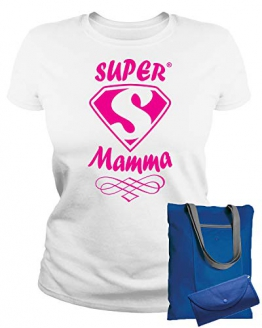 MAM0011 T-Shirt Maglietta Donna Super Mamma 3 Idea Regalo Festa della Mamma (L, Bianco) - 1