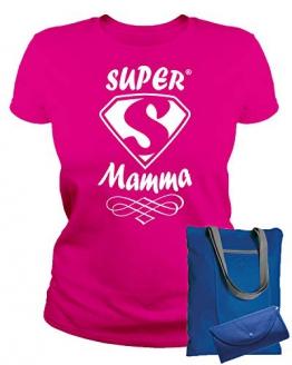 MAM0011 T-Shirt Maglietta Donna Super Mamma 3 Idea Regalo Festa della Mamma (L, Fuxia) - 1