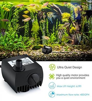 Maxesla Mini Pompa Acqua Sommergibile Ultra-silenzioso 300L/H Pompa Fontana Acquario Laghetto per terrari, stagno di pesce, sistemi di circolazione, ecc. - 3