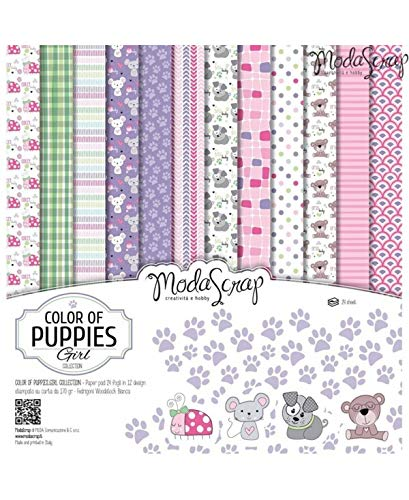 Moda Scrap Set Carta Ms 30x30 Fg.24 Gr.170 Color of Puppies Girl - 1