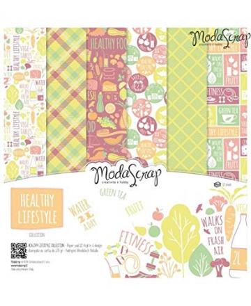 Modascrap Set Carta Ms 30x30 Fg.12 Gr.170 Healthy Lifestyle - 1