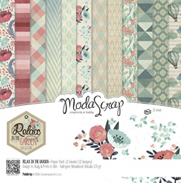 Modascrap Set Carta Ms 30x30 Fg.12 Gr.170 Relax In The Garden - 1