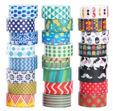 Mooker Set di 24Rotoli di Nastro Washi Tape, Nastro Adesivo Decorativo per Artigianato, per Fai-da-Te e per Incartare Regali - 1
