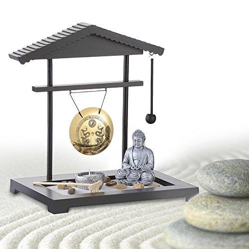 MostroMania - Giardino Zen con Gong - Mini Giardino Decorativo Giapponese con Buddha - Decorazioni Floreali per Interni - Oggetti Rilassanti - Idee Regalo Originali - Regali di Natale - 1