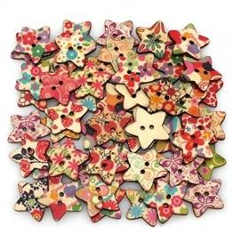 NaiCasy - Bottoni in legno a forma di stella con diverse fantasie dipinte ideali per scrapbooking, bambini, progetti e altre arti e artigianato. 25 x 25 mm (25 pezzi) - 1