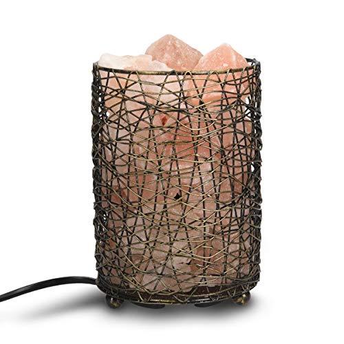 Navaris Lampada con sale Himalaya e cestino - Luce da notte con cristalli rosa di sale Himalayano - Lampada minerale con Dimmer e 2x Lampadine E14 - 1