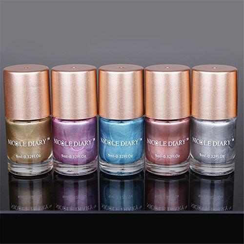 NICOLE DIARY 9ml Nail Polish metallic polacco effetto effetto polacco splendente vernice metallica polacco 5 colori - 1