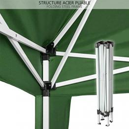 NOUVOT Gazebo Richiudibile 3x3 Pieghevole a Fisarmonica Impermeabile PVC Mercato Tenda con Sacca Colore Verde - 1