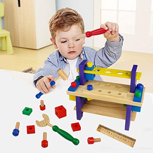 Nuheby Kit Attrezzi per Bambini 42 PCS Cassetta Attrezzi in Legno da Lavoro Giochi per Bambini Giochi Educativi Giochi di Ruolo Regalo Ragazzi Ragazze 3,4,5,6 Anni - 1