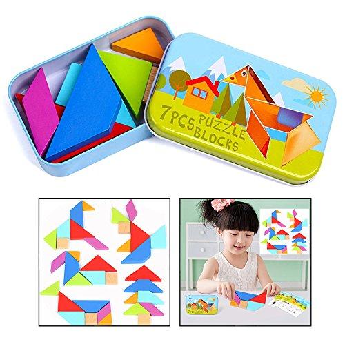 OFKPO Tangrams Puzzles Tangram Giochi Educativi in legno per Bambini - 1