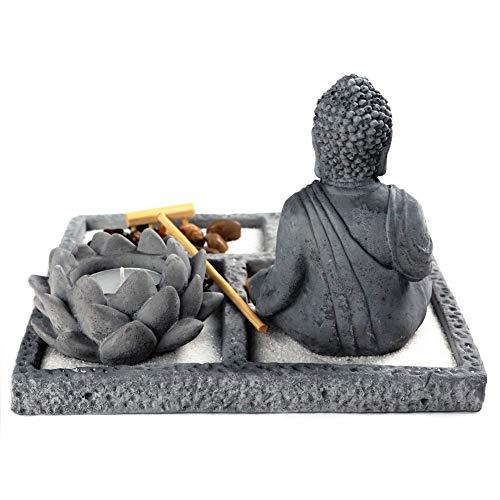 OM HOME Giardino ZEN - Statuetta Buddha su vassoio seduta MEDITAZIONE, portacandele decorazione - 1