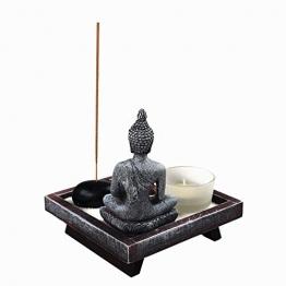 OM HOME Giardino ZEN - Statuetta Buddha su vassoio seduta, portacandele supporto per bastoncini di incenso decorazione - 1