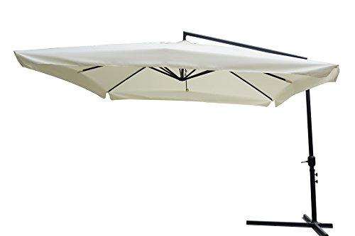 Ombrellone da giardino, 3x3 x 3h mt braccio laterale Struttura in acciaio Con manovella Copertura in poliestere 180 gr/m² colore écru. - 1