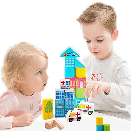 Onshine 62 pezzi in Legno Mattoncini per Costruzioni Blocchi Giocattolo Educativi per Bambini - 1