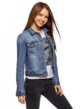 oodji Ultra Donna Giacca in Jeans Basic, Blu, IT 46 / EU 42 / L - 1
