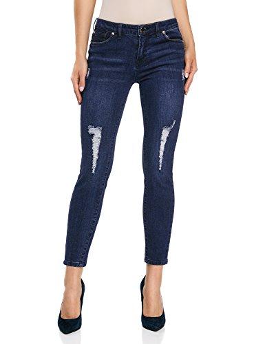 oodji Ultra Donna Jeans Cropped Strappati, Blu, 29W / 32L (IT 46 / EU 42 / L) - 1