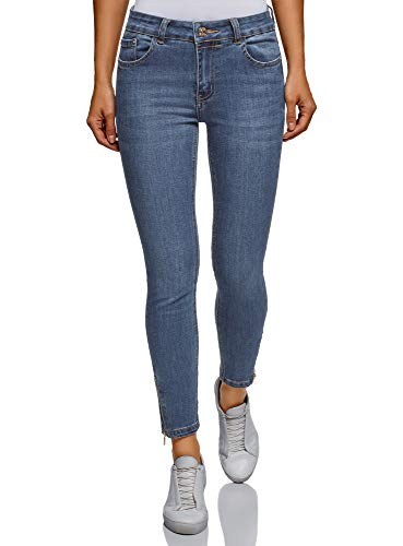 oodji Ultra Donna Jeans Skinny con Zip in Fondo, Blu, 30W / 32L (IT 48 / EU 44 / XL) - 1