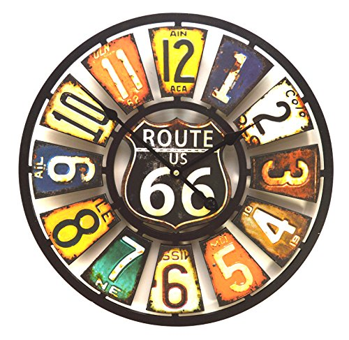 Orologio da parete , Design targa americano , stile vintage , multicolore - 1