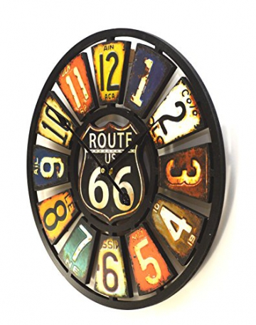 Orologio da parete , Design targa americano , stile vintage , multicolore - 2