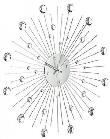 Orologio da Parete in Metallo Stella di Cristallo Decorazione Casa 50 cm, Colore Argento - 2