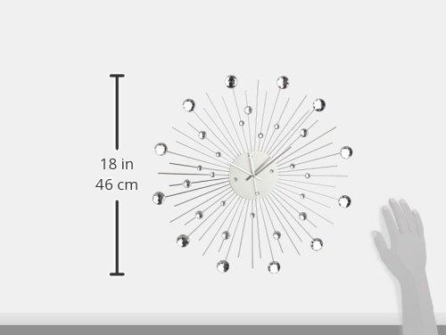 Orologio da Parete in Metallo Stella di Cristallo Decorazione Casa 50 cm, Colore Argento - 1