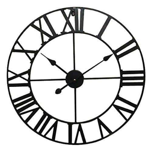 Orologio da parete rotondo, design retrò, in metallo, con lancette, 60 cm, colore: nero - 1