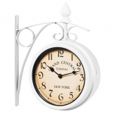 Orologio da parete stile industriale bifacciale - Orologio da muro stile vintage retrò Stazione ferroviaria New York bianco - 1