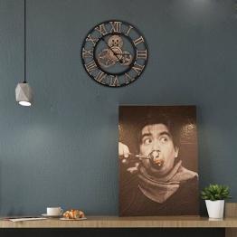 Orologio da parete vintage - Orologio da parete Retro Stile artistico europeo con corona decorativa e numeri romani Realizzato a mano in 3D per soggiorno Cucina Camera da letto Bar Cafe, quadrante in - 1