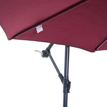 Outsunny Ombrellone Decentrato da Giardino e Spiaggia Parasole con Angolo Inclinabile in Metallo Φ3 × 2.6M Rosso Bordeaux - 1
